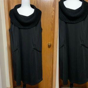 Womens plus size black sleeveless turtleneck dress